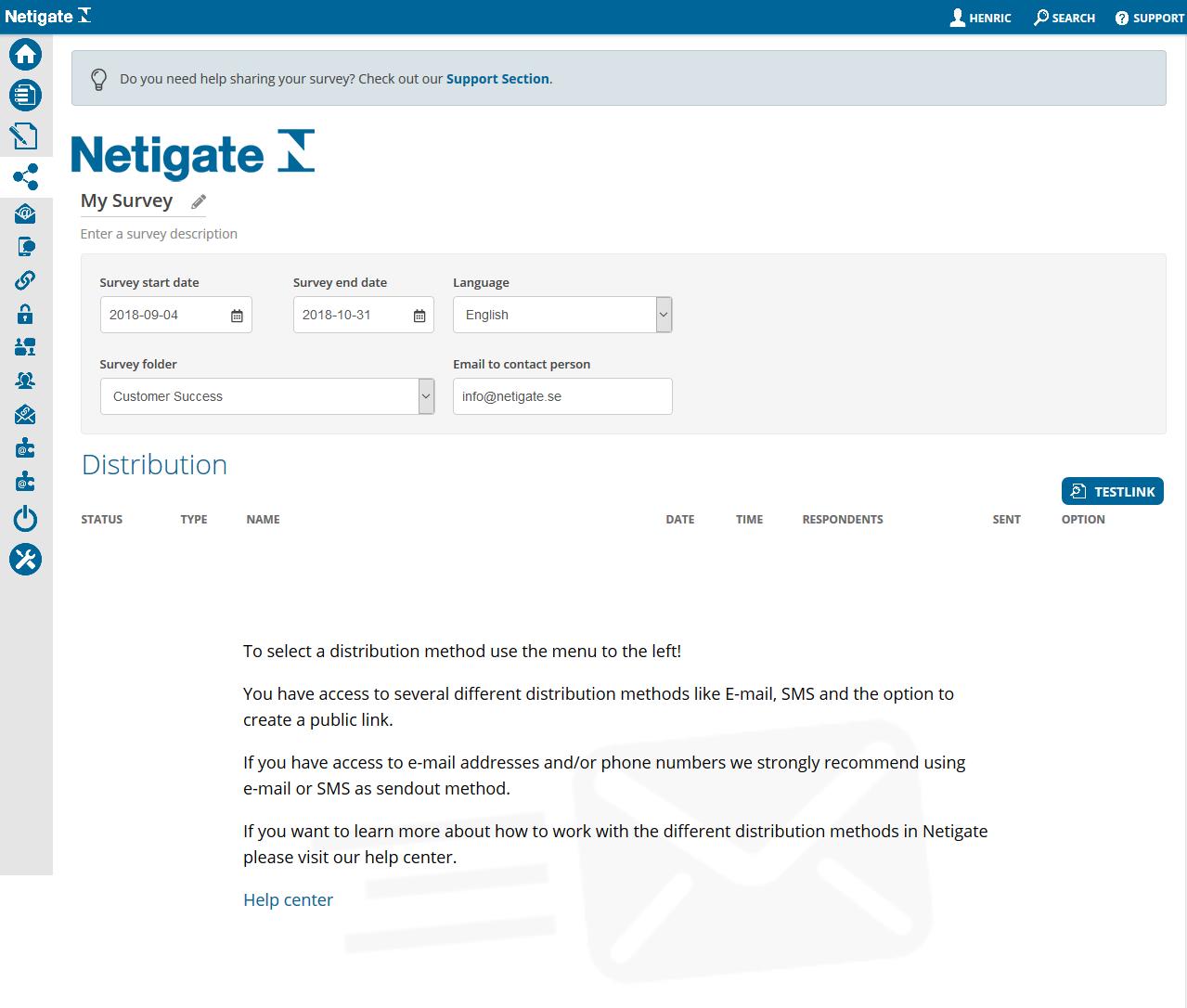 Distribution page